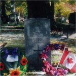 Grave marker– Grave site as it appeared in November 2002.  St. James Cemetery is located on Parliament Street in Toronto.