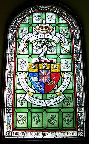 Memorial Stained Glass– Group Captain Vaughan Bowerman Corbett, DFC studied at the Royal Military College of Canada in 1935. Alumni are remembered in memorial stained glass windows.