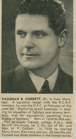 Biography– Group Captain Vaughan Bowerman Corbett courtesy McGill University archives.