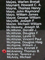 Memorial– Flying Officer Thomas Bernard McAneney is also commemorated on the Bomber Command Memorial Wall in Nanton, AB … photo courtesy of Marg Liessens