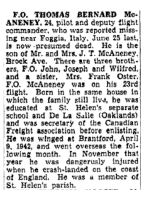 Newspaper Clipping– The Toronto Star June 8, 1945, page 18