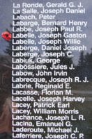 Memorial– Pilot Officer Joseph Gaston Gustave Andre Labelle is also commemorated on the Bomber Command Memorial Wall in Nanton, AB … photo courtesy of Marg Liessens