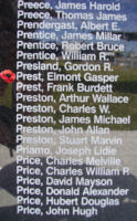 Memorial– Flying Officer Elmont Gasper Prest is also commemorated on the Bomber Command Memorial Wall in Nanton, AB … photo courtesy of Marg Liessens