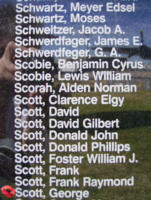 Memorial– Flying Officer George Scott is commemorated on the Bomber Command Memorial Wall in Nanton, AB … photo courtesy of Marg Liessens