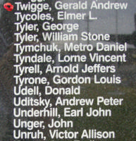 Memorial– Pilot Officer Gerald Andrew Twigge is also commemorated on the Bomber Command Memorial Wall in Nanton, AB … photo courtesy of Marg Liessens