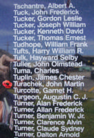 Memorial– Flight Sergeant John Martin Turachek is also commemorated on the Bomber Command Memorial Wall in Nanton, AB … photo courtesy of Marg Liessens