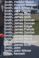 Memorial– Flight Sergeant James Henry Smith is commemorated on the Bomber Command Memorial Wall in Nanton, AB … photo courtesy of Marg Liessens