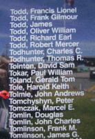 Memorial– Pilot Officer John Andrews Tolmie is commemorated on the Bomber Command Memorial Wall in Nanton, AB … photo courtesy of Marg Liessens