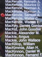 Memorial– Flying Officer Samuel Albert MacKenzie is also commemorated on the Bomber Command Memorial Wall in Nanton, AB … photo courtesy of Marg Liessens