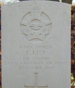 Grave Marker– Grave marker of Flying Officer Elliott Kitt RCAF of Chillicothe, Missouri, U.S.A. at Fovrfelt Cemetery, Esbjerg, Denmark.