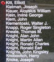 Memorial– Flying Officer Elliott Kitt is also commemorated on the Bomber Command Memorial Wall in Nanton, AB … photo courtesy of Marg Liessens