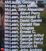 Memorial– Flight Sergeant John Andrew McLean is also commemorated on the Bomber Command Memorial Wall in Nanton, AB … photo courtesy of Marg Liessens