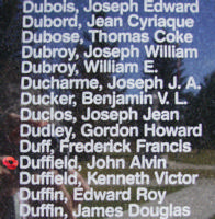 Memorial– Flight Sergeant John Alvin Duffield is also commemorated on the Bomber Command Memorial Wall in Nanton, AB … photo courtesy of Marg Liessens