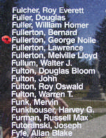Memorial– Flight Sergeant George Noile Fullerton is also commemorated on the Bomber Command Memorial Wall in Nanton, AB … photo courtesy of Marg Liessens