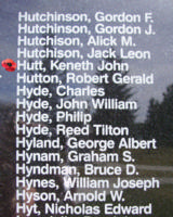 Memorial– Flight Sergeant Kenneth John Hutt as commemorated on the Bomber Command Memorial Wall in Nanton, AB … photo courtesy of Marg Liessens