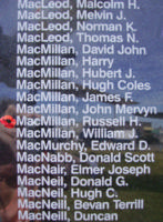 Memorial– Flight Sergeant Russell Hamilton MacMillan is also commemorated on the Bomber Command Memorial Wall in Nanton, AB … photo courtesy of Marg Liessens