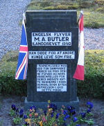Memorial– English flyer -M. A. Butler washed ashore 1940. He died so other could live as free men. We thank God for the freedom of Denmark and this flyer and his brothers of arms for their contribution. The people of Hjardemaal parish set his memorial after the liberation in 1945.