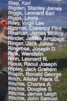 Memorial– Flying Officer Virgil Lee Riley is commemorated on the Bomber Command Memorial Wall in Nanton, AB … photo courtesy of Marg Liessens