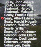Memorial– Flight Sergeant Albert Edward Sealy  is commemorated on the Bomber Command Memorial Wall in Nanton, AB … photo courtesy of Marg Liessens