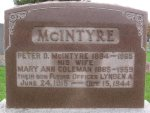 Gravemarker– Inscription on Family Grave Marker.  North Branch Cemetery, Martintown, Ontario
