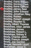 Memorial– Flying Officer James Reid Bradley is also commemorated on the Bomber Command Memorial Wall in Nanton, AB … photo courtesy of Marg Liessens
