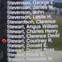 Memorial– Pilot Officer Courtney Raymond Stewart is commemorated on the Bomber Command Memorial Wall in Nanton, AB … photo courtesy of Marg Liessens