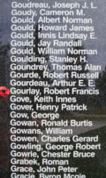 Memorial– Flight Sergeant Robert Francis Gourlay is also commemorated on the Bomber Command Memorial Wall in Nanton, AB … photo courtesy of Marg Liessens