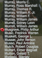 Memorial– Pilot Officer Philip Arthur Musgrave is also commemorated on the Bomber Command Memorial Wall in Nanton, AB … photo courtesy of Marg Liessens