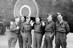 Air Crew Members– 405 Squadron crew: (L-R) Philip A Musgrave (Air Gunner - killed in action August 17, 1944), Ross Wiens (Navigator); Ralph Rafter (Wireless Air Gunner); Bruce Durfee (Bomb Aimer); Denis Budd (Air Gunner); Jim Umschied (Flight Engineer); missing Bud Walter (Pilot)