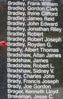 Memorial– Flying Officer Royden Garfield Bradley is also commemorated on the Bomber Command Memorial Wall in Nanton, AB … photo courtesy of Marg Liessens