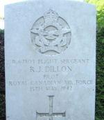 Grave Marker– Gravemarker of F/S Raymond J. Dillon RCAF, of Freeport, Illinois, U.S.A., at Vaerlose Churchyard Burial Grounds, Vaerlose, Zealand Island, Denmark.