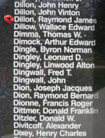 Memorial– Flight Sergeant Raymond James Dillon is also commemorated on the Bomber Command Memorial Wall in Nanton, AB … photo courtesy of Marg Liessens