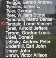 Memorial– Flight Lieutenant Navigator Lorne Vincent Tyndale is also commemorated on the Bomber Command Memorial Wall in Nanton, AB … photo courtesy of Marg Liessens