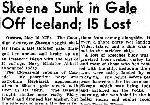 Newspaper Clipping– Details of the loss of HMCS Skeena on October 25, 1944 were only made public in May 1945. Newspaper Clipping from the Globe and Mail May 17, 1945