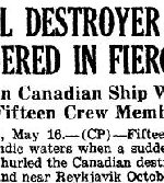 Newspaper Clipping– Details of the loss of HMCS Skeena on October 25, 1944 were only made public in May 1945.  Newspaper Clipping from the Hamilton Spectator, May 16, 1945.  Part 1