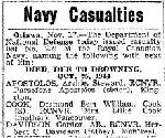 Newspaper Clipping– Coder RITCHIE OULTON SEATH was one of 15 sailors who died when a sudden night gale drove the destroyer HMCS Skeena ashore on Videy Island, two miles off Reykjavik Iceland, in the late evening/early morning of October  24-25, 1944.    This list contains 14 names.  The name of Leading Seaman JOSEPH FREDERIC ANDRE BLAIS is missing from this list, which was published in the Globe and Mail, November 18, 1944.