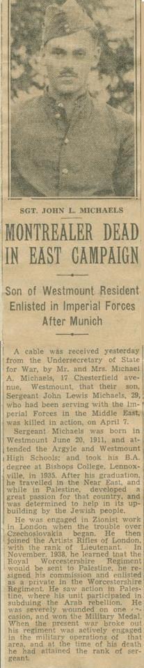 Press Clipping– Sergeant John Michaels obit Montreal Gazette April 18 1941 courtesy McGill University archives