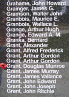 Memorial– Flying Officer Douglas Munroe Grant is also commemorated on the Bomber Command Memorial Wall in Nanton, AB … photo courtesy of Marg Liessens