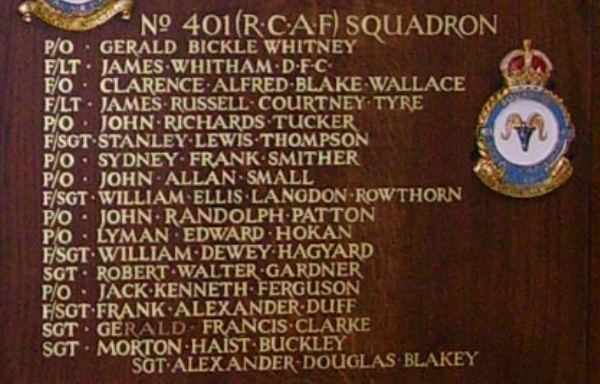 Memorial– Pilot Officer John Allan Small is also commemorated at St George's Royal Air Force Chapel of Remembrance - Biggin Hill … name on the panels that surround the Altar … Photo courtesy of Marg Liessens