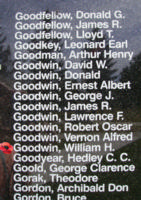 Memorial– Pilot Officer William Harvey Goodwin is also commemorated on the Bomber Command Memorial Wall in Nanton, AB … photo courtesy of Marg Liessens