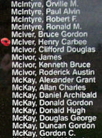 Memorial– Flight Lieutenant Henry Carbee McIver is also commemorated on the Bomber Command Memorial Wall in Nanton, AB … photo courtesy of Marg Liessens