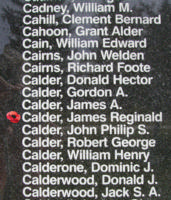 Memorial– Flight Sergeant James Reginald Calder is also commemorated on the Bomber Command Memorial Wall in Nanton, AB … photo courtesy of Marg Liessens