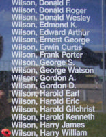 Memorial– Pilot Officer Harry William Wilson is also commemorated on the Bomber Command Memorial Wall in Nanton, AB … photo courtesy of Marg Liessens