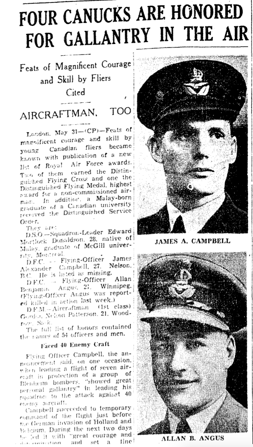 Newspaper clipping– From the Toronto Star May 1940. Submitted for the project Operation Picture Me