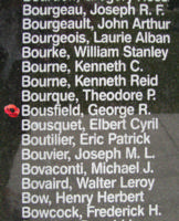 Memorial– Flying Officer George Raymond Bousfield is also commemorated on the Bomber Command Memorial Wall in Nanton, AB … photo courtesy of Marg Liessens