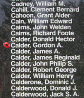 Memorial– Pilot Officer Gordon Alexander Calder is also commemorated on the Bomber Command Memorial Wall in Nanton, AB … photo courtesy of Marg Liessens