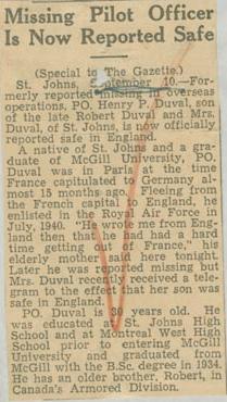 Press Clipping– Flight Lieutenant Henry Percy Harry Duval Montreal Gazette Sept 11, 1941 courtesy McGill University archives