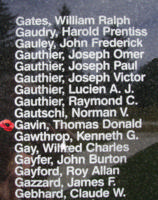 Memorial– Pilot Officer Thomas Donald Gavin is also commemorated on the Bomber Command Memorial Wall in Nanton, AB … photo courtesy of Marg Liessens