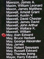 Memorial– Flying Officer Alan Edward May is also commemorated on the Bomber Command Memorial Wall in Nanton, AB … photo courtesy of Marg Liessens