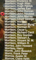 Memorial– Flying Officer John Houseal Morrison is also commemorated on the Bomber Command Memorial Wall in Nanton, AB … photo courtesy of Marg Liessens